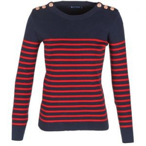 Petit Bateau red and blue striped top with buttons