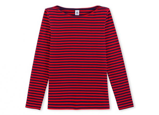 Petit Bateau Blue and Red Stripe Tee
