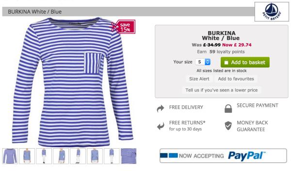 Petit Bateau Burkina top in blue, discounted