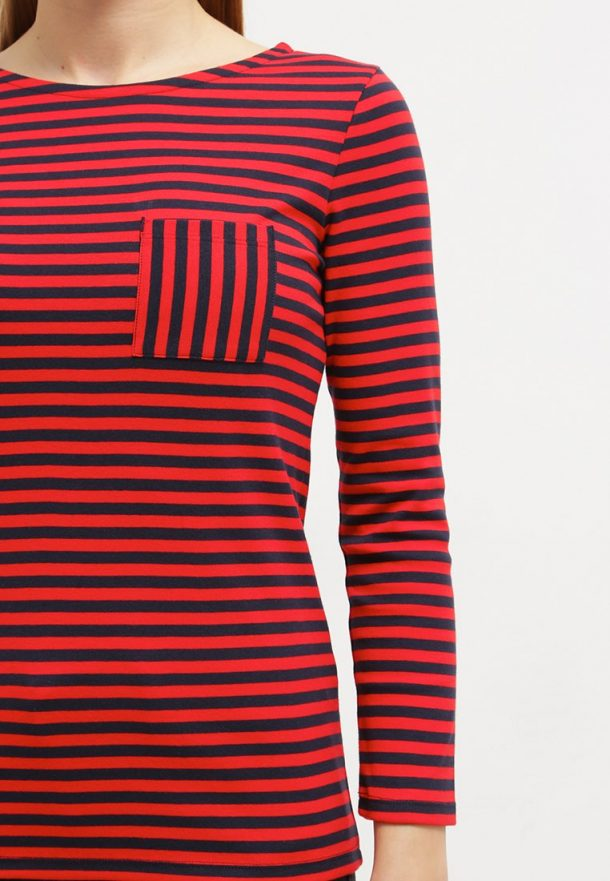 Petit Bateau Burkina striped tee with vertical stripe pocket