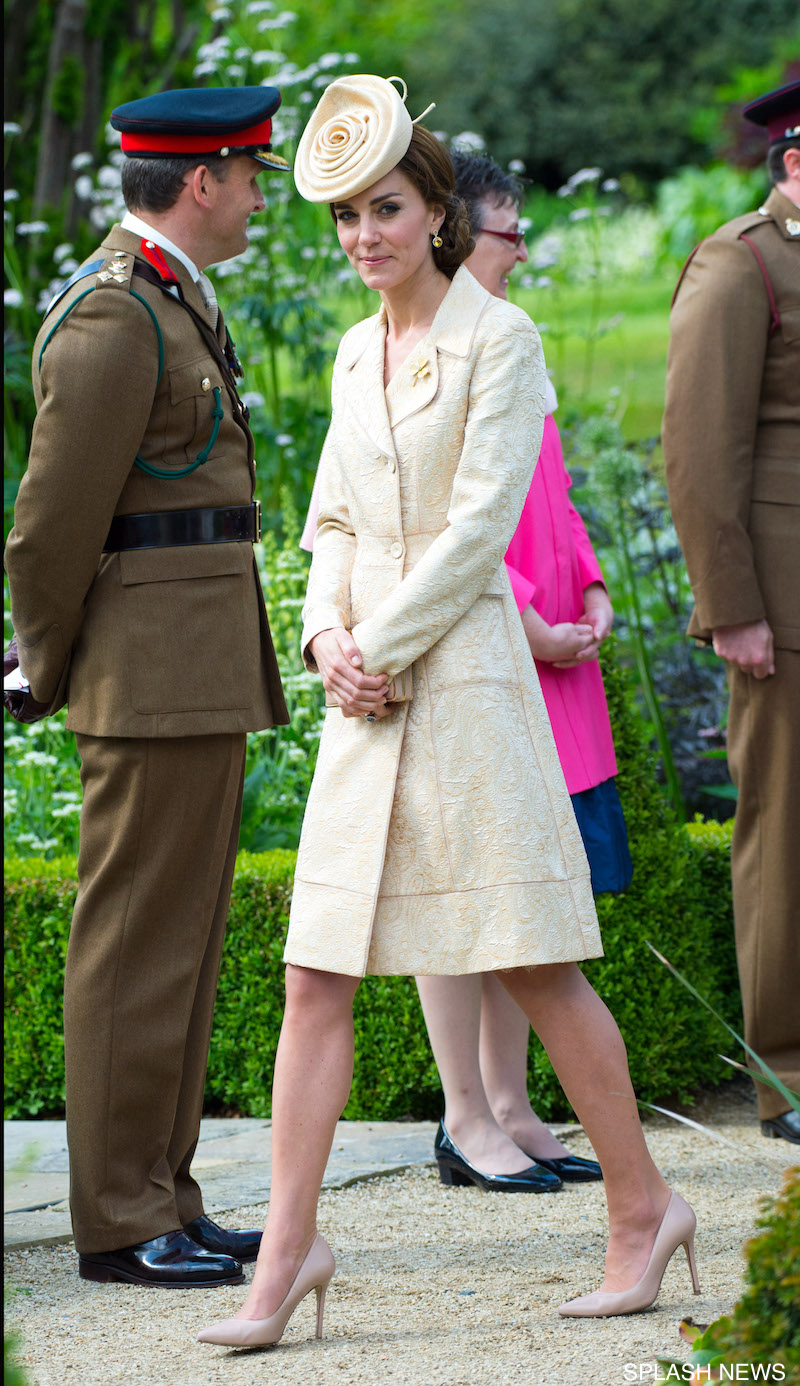 Catherine, Duchess of Cambridge, wearing a Day Birger et Mikkelsen cream coat and aLock & Co. hat, and Prince William, Duke of Cambridge attend the Secretary of State's annual Garden party at Hillsborough Castle on June 14, 2016 in Belfast, Northern Ireland <P> Pictured: Catherine, Duchess of Cambridge. Picture by: Splash News