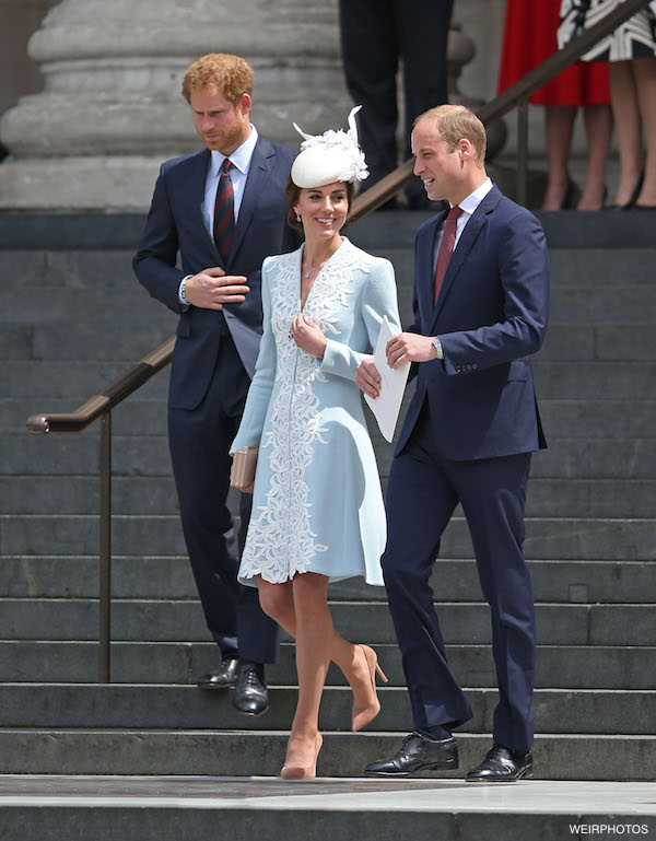 Duke Of Cambridge, Prince William & The Duchess Of Cambridge, Catherine Middleton along with Prince Harry are seen here leaving St Paul's Cathedral in London after attending The National Service of Thanksgiving in honour of the Queen's 90th birthday. The Duchess Of Cambridge, Catherine Middleton curtsey towards Queen Elizabeth II as she & Prince Philip, Duke of Edinburgh was driven away.