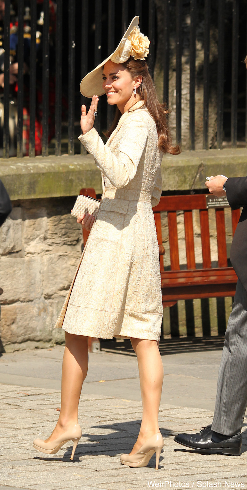 Kate Middleton in gold brocade coat