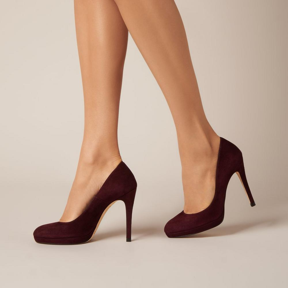 L.K. Bennett Sledge pumps in oxblood suede