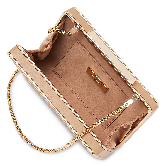 The L.K. Bennett Nina box clutch in trench