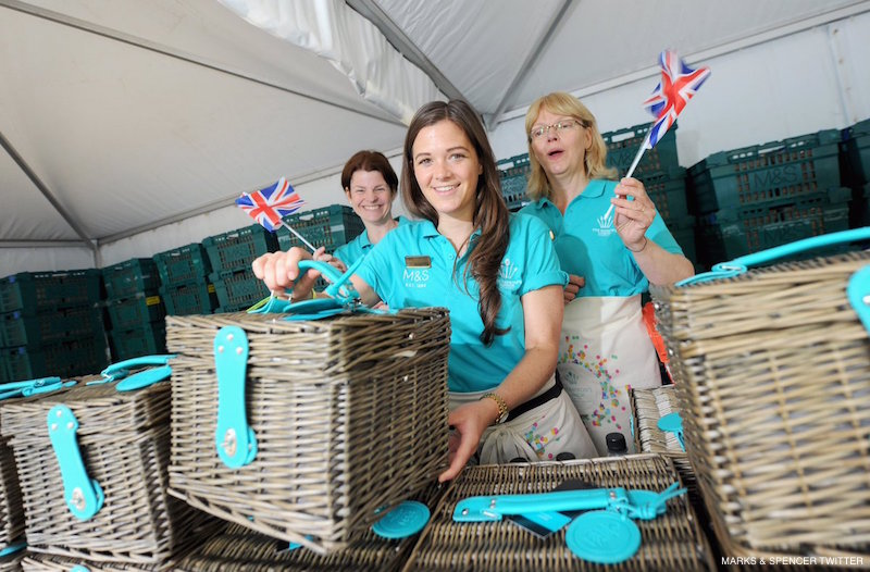 Marks and Spencer supplied hampers for the guests