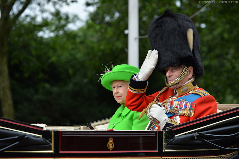 The queen in bright green at the Trooping the Colour parade