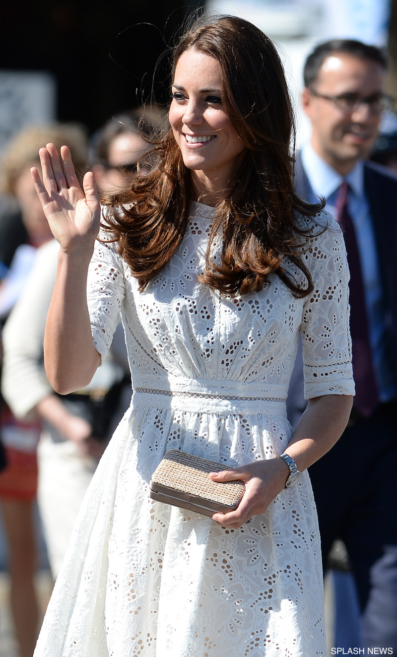 Kate Middleton carrying the L.K. Bennett Natalie clutch bag in raffia
