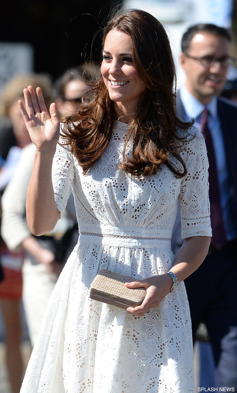 Kate Middleton carrying the L.K. Bennett Natalie clutch bag in raffia