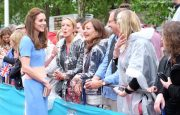 William, Kate and Harry meet with guests