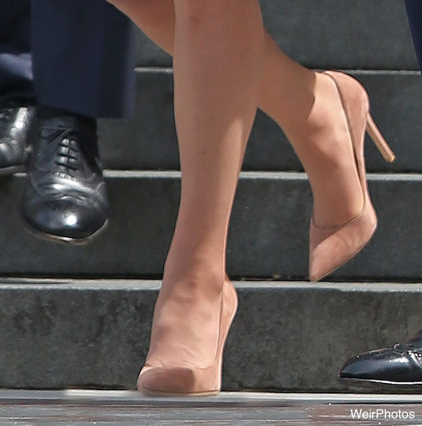 Kate Middleton's blush coloured shoes at the service of thanksgiving for the Queen's 90th birthday