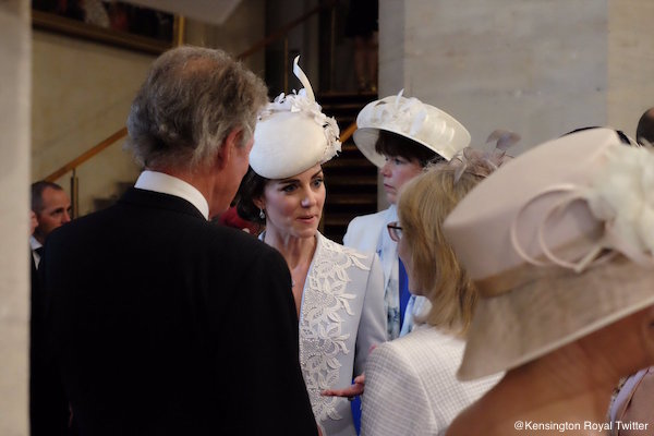 William, Kate and Harry chat with guests