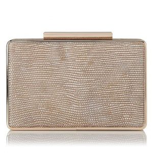L.K. Bennett clutch bag in Blush Metallic Lizard