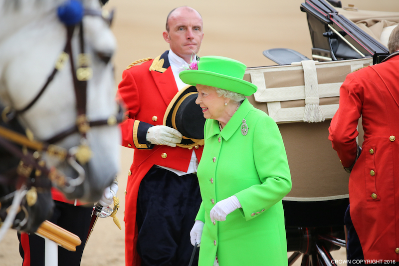 The Queen in Green at this year's Trooping the Colour parade
