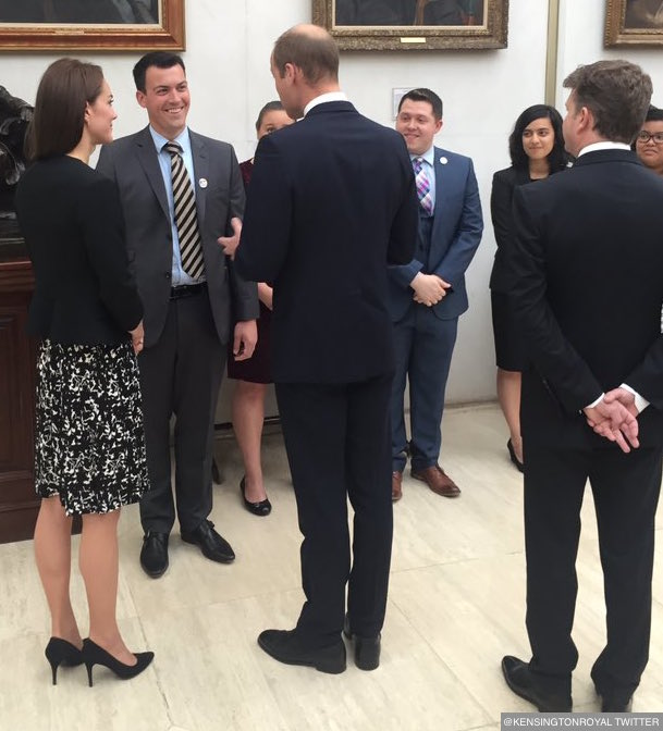 William and Kate speaking with LGBT network GLIFAA representatives in the US embassy