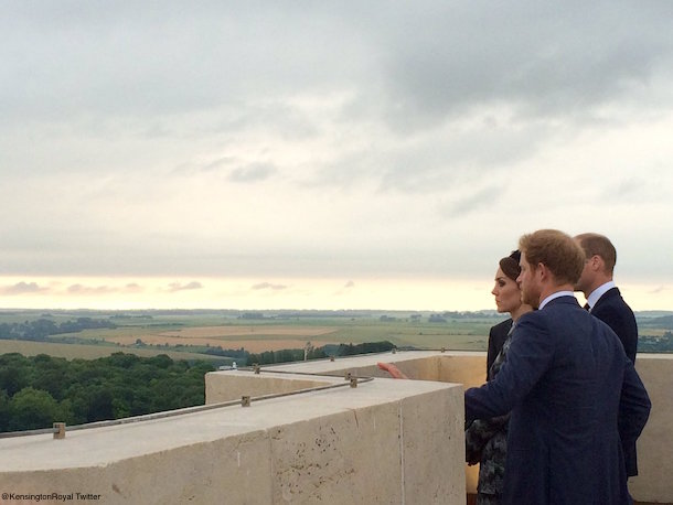William, Kate and Harry overlook the battlefields