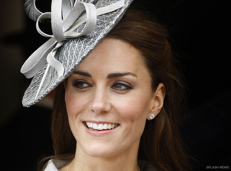 Kate Middleton wearing her Kiki McDonough Grace earrings in Topaz.