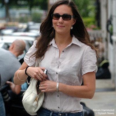 Kate Middleton looking casual with a handbag slung over her shoulder!