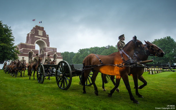 Kings Troop Royal Horse Artillery arrive at Thiepval Memorial. Rehearsals are under way today ahead of events commemorating the 100th anniversary of the Battle of the Somme. Hundreds of troops in both the UK and France will be taking part in vigils, parades and services tomorrow (Friday 1 July 2016) to mark the centenary of the conflict. Tri-Service personnel will be joining colleagues from other nations to pay tribute to the thousands who died in the 141-day battle. A service will be held tonight at Westminster Abbey in London, followed by a vigil made up of almost 100 Armed Forces personnel which will continue throughout the night until 7.30am on Friday – the exact moment troops went over the top at the Somme. In France, a similar vigil is taking place overnight at the Thiepval Memorial. The vigil is made up of a British tri-Service contingent, plus troops from other participating nations including Germany, France and other Commonwealth countries. Photographer: Sergeant Rupert Frere RLC