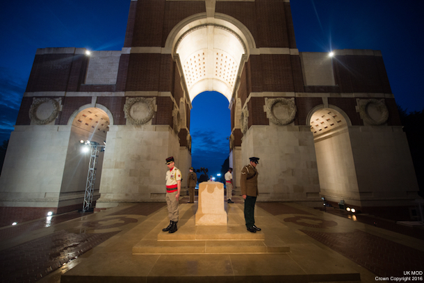 Almost 100 years since the start of the Somme offensive, members of the Armed Forces have begun standing vigil in the UK and France in honour of the war dead. In France, a vigil is taking place overnight at the Thiepval Memorial. The vigil is made up of a British tri-Service contingent, plus troops from other participating nations including Germany, France and other Commonwealth countries. Photographer: Sergeant Rupert Frere RLC
