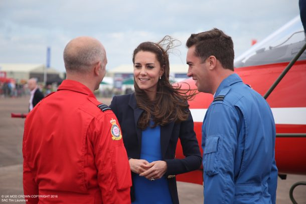 Officers from the Royal Air Force Aerobatic Team, the Red Arrows, had the privilege of meeting the Duke and Duchess of Cambridge with Prince George today (July 7). The Duke and Duchess were visiting the Royal International Air Tattoo, Gloucestershire, where the Red Arrows are displaying. At the airshow, the Duke of Cambridge was given a tour of the Hawk T1, used by the Red Arrows, by Squadron Leader David Montenegro - Team Leader and Red 1. Prince George also got to sit in the world-famous jet.