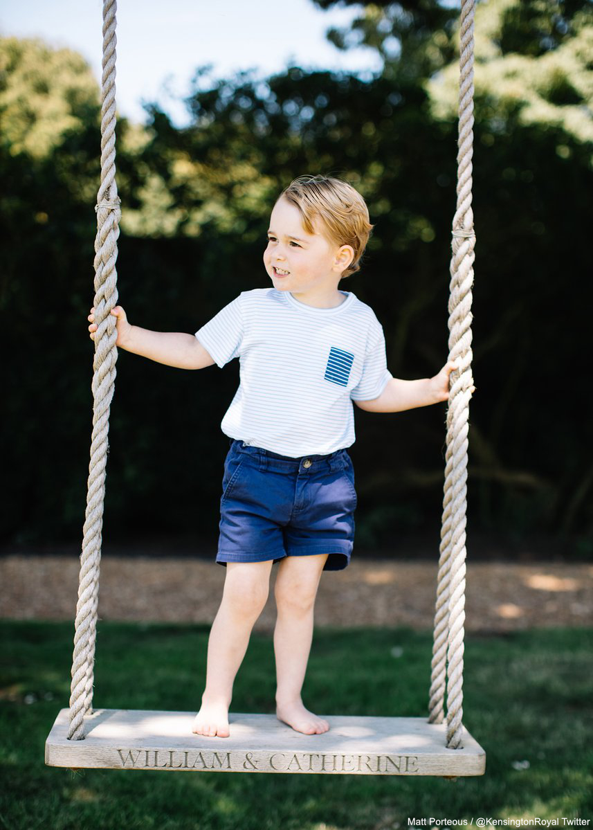 Prince George stood on the William and Catherine swing