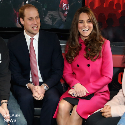 Kate Middleton wearing a bright pink coat in London