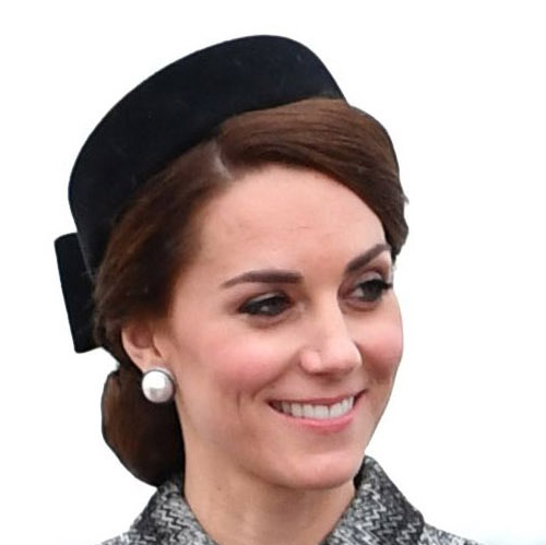 Kate Middleton's black pillbox hat and pearl earrings for the Somme commemorations