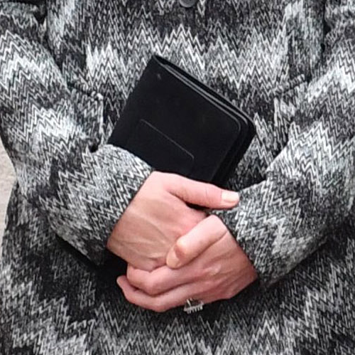 Kate Middleton carries her black Mulberry clutch bag during the Somme commemorations