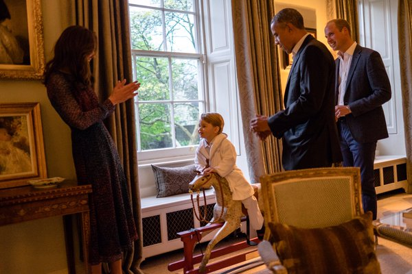William, Kate, Prince George and President Obama