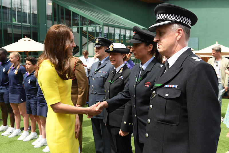 Kate Middleton meeting with service personnel at Wimbledon 2016