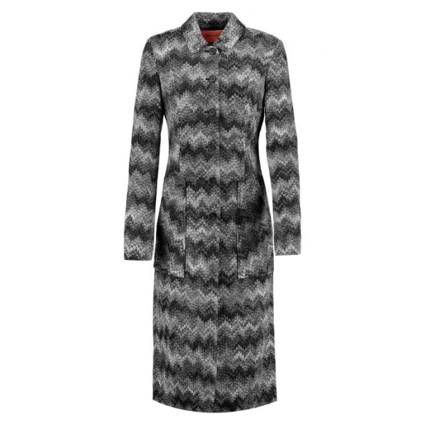 Black and grey Missoni Coat with Zigzag stripes
