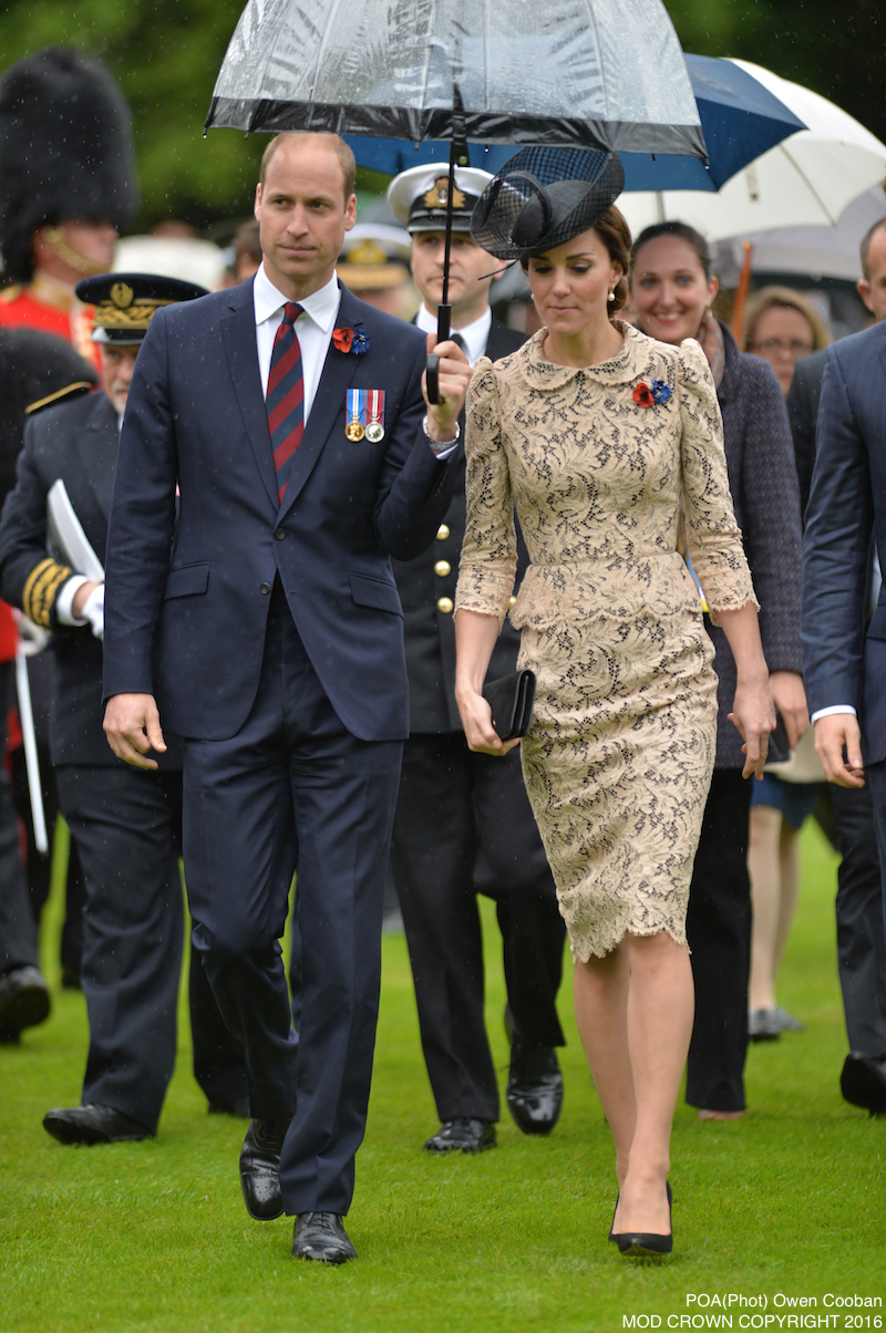 Image shows the Duke and Duchess of Cambridge after the Thiepval service. Members of the Royal Family have joined the Prime Minister and representatives of allies and former enemies, together with hundreds of Armed Forces personnel and 10,000 guests to mark the centenary of the Battle of the Somme at an international service of commemoration in France. Representatives of all the regiments that took part in the conflict 100 years ago attended the service at the Thiepval Memorial along with a Guard of Honour from the Irish Guards and guns of the King's Troop Royal Horse Artillery.Servicemen and women took part in the service, reading moving accounts of the battle from those who went over the top on the 1 July 1916.The King's Troop Royal Horse Artillery fired their guns to mark the end of a period of silence, and wreaths were laid at the Cross of Sacrifice.The guns are 13 Pounder Quick Fire guns, and saw service in the First World War. art in commemorative services in both Thiepval and Manchester.