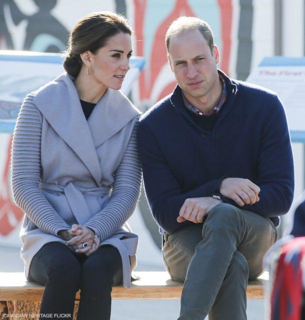 Kate Middleton wearing her grey Sentaler jacket