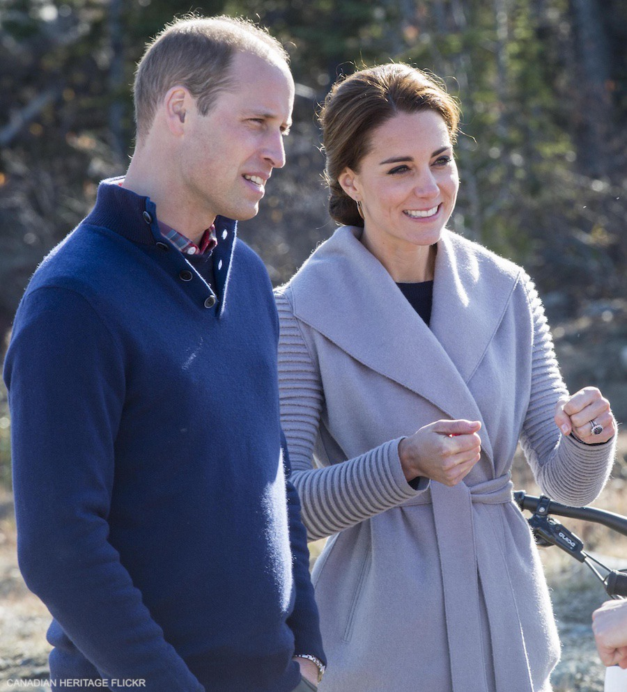 Kate Middleton wearing her grey Sentaler jacket