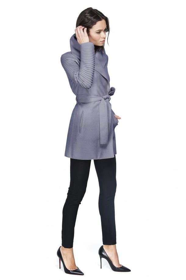 Sentaler wrap coat with ribbed sleeves in gull grey, as worn by Kate Middleton