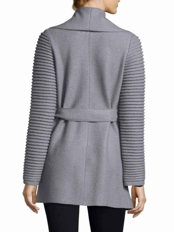 Sentaler Wrap Coat with Ribbed Sleeves in Gull Grey, as worn by the Duchess of Cambridge (Kate Middleton)