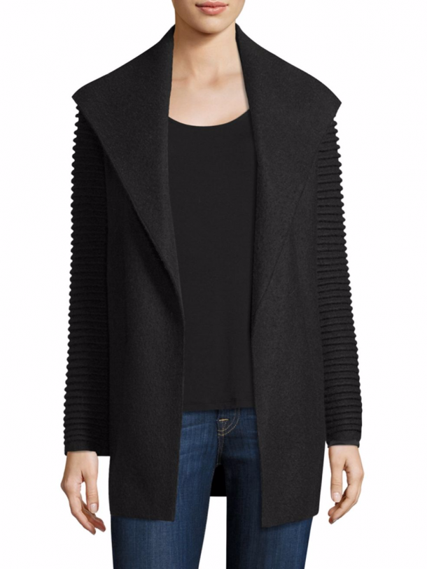 Sentaler wrap coat in black