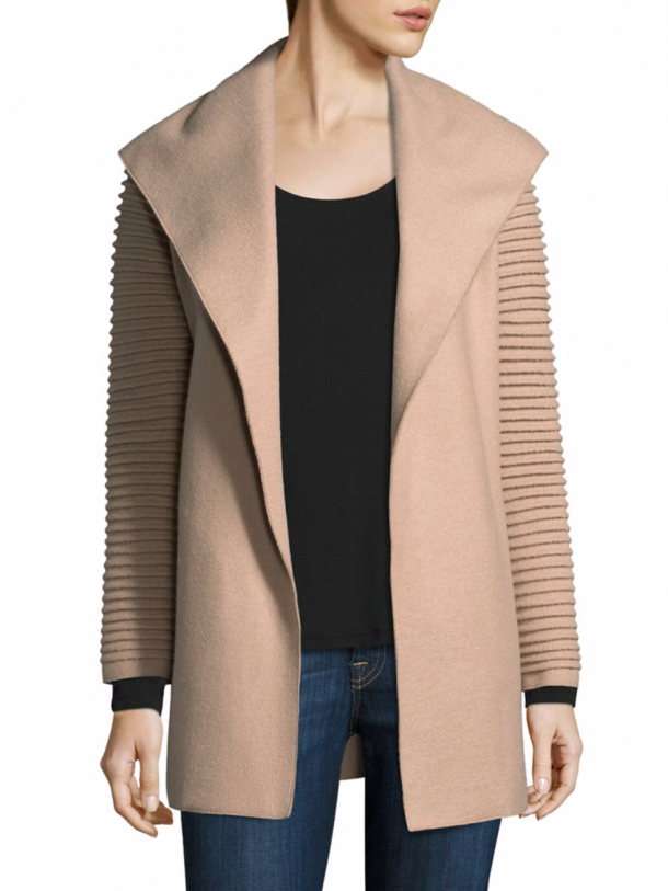 Sentaler wrap coat in sand