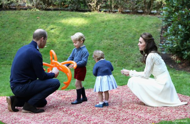 The Duke and Duchess of Cambridge, Prince George and Princess Charlotte attend a children's party for Military families at Government House, Victoria, British Columbia, Canada, on the 29th September 2016.
