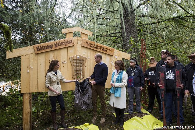 William and Kate unveiling a plaque in Great Bear Rainforest