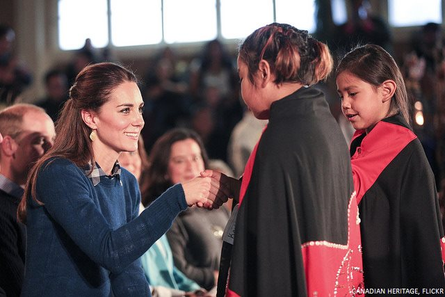 Kate chatting with children from the Heiltsuk First Nations community
