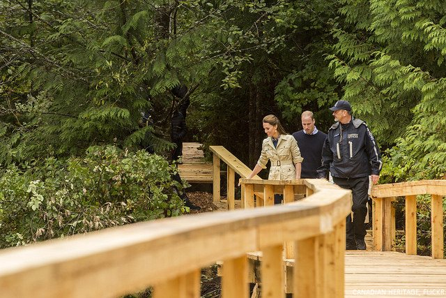 William and Kate walk through Great Bear rainforest
