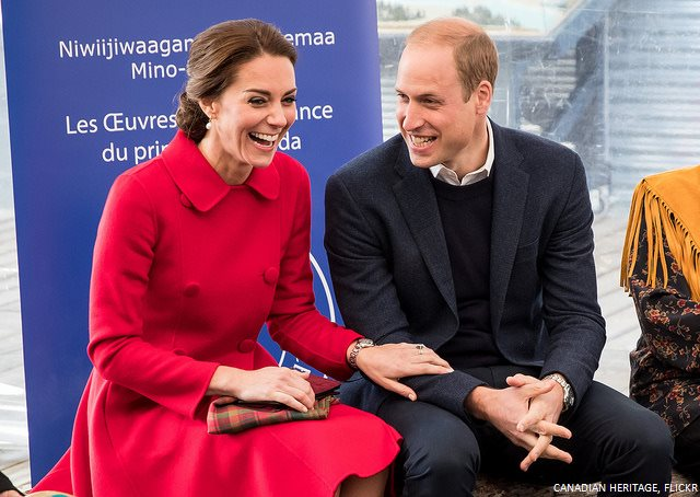 Kate in red Carolina Herrera coat for day five of the royal visit in Yukon