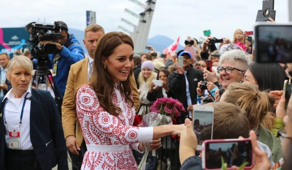 Day two:  Kate chooses red and white Alexander McQueen dress for Vancouver visit
