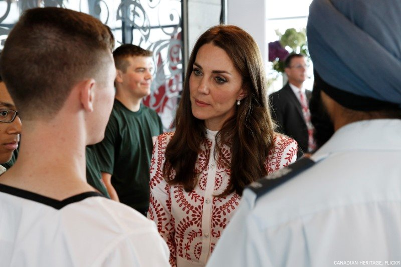 Kate speaks with young people during a youth reception in Vancouver