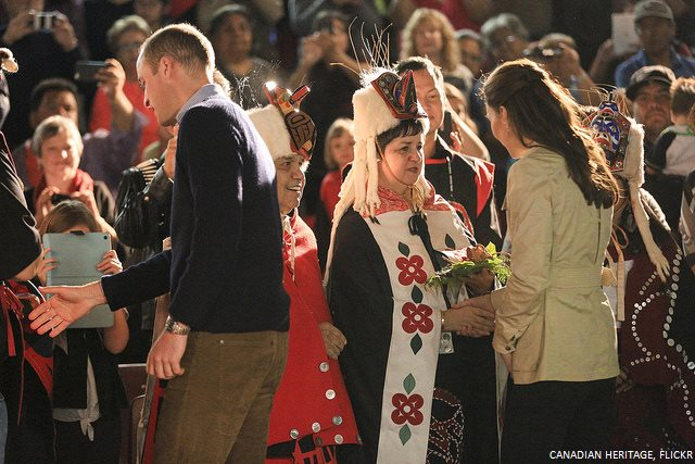 Prince William and Kate Middleton in Bella Bella meeting with the Heiltsuk First Nations community