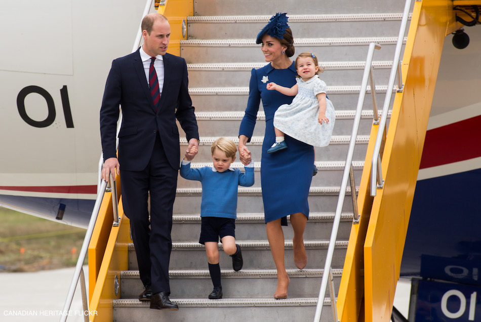 William, Kate, George and Charlotte at Victoria Airport, British Colombia. The family of four will be visiting a number of regions across Canada over the next week.