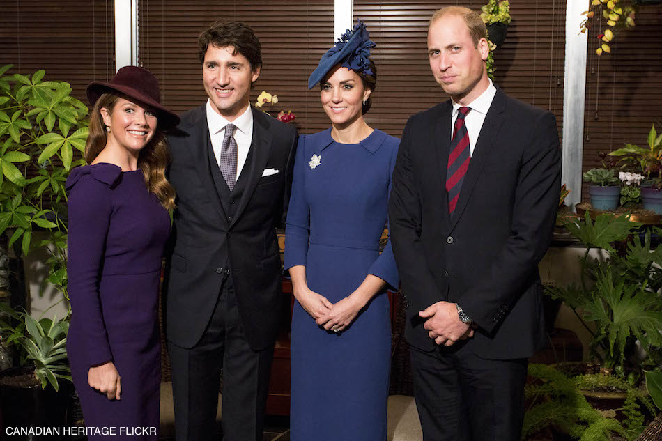 William and Kate Cambridge with Justin & Sophie Trudeau