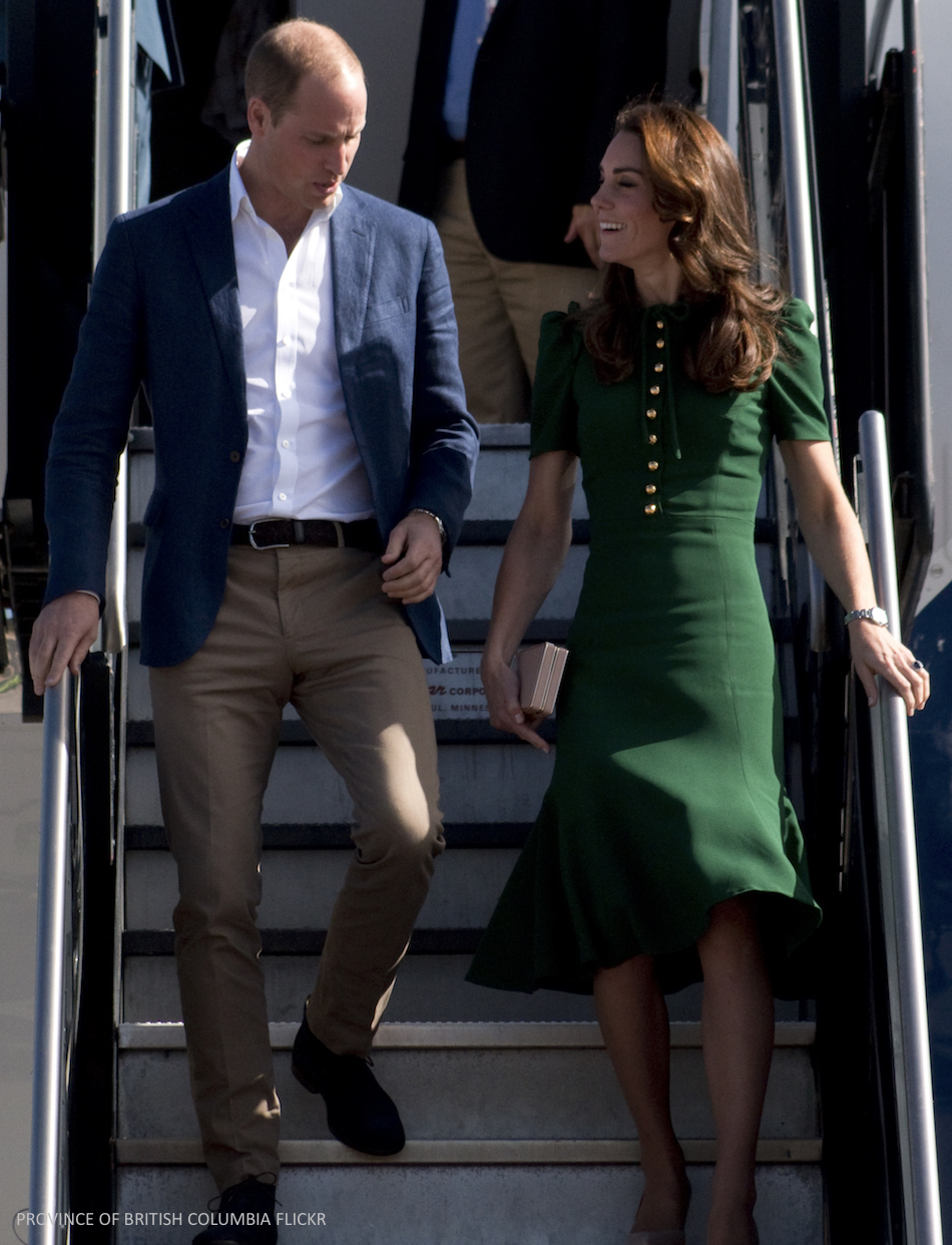 Kate Middleton wears a green dolce and gabbana dress for Yukon visit